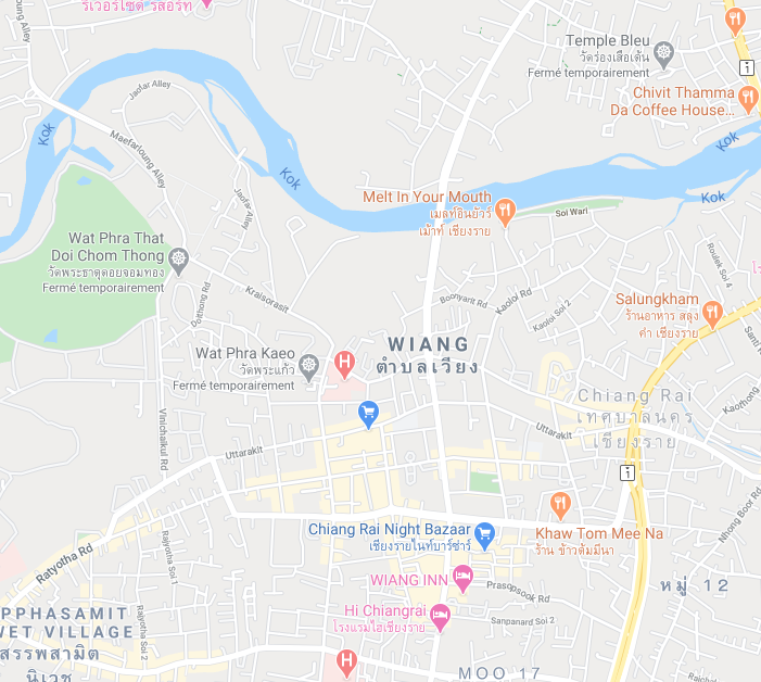 Plan Chiang Rai - Google maps