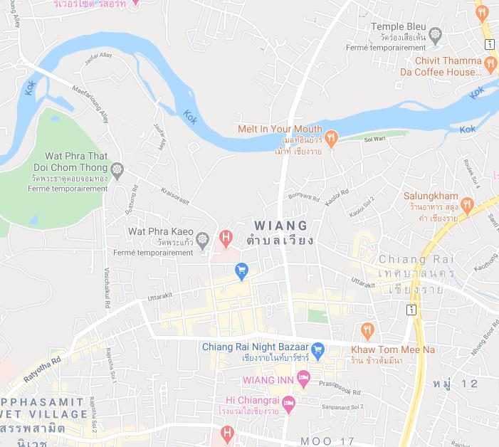 Plan Chiang Rai - Google maps